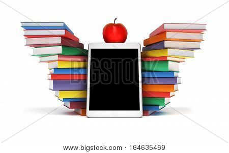 tablet PC, colorful book stacked piles in the shape of wings and an Apple mockup - back to school isolated on white background, 3d illustration
