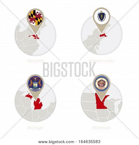 Us States Maryland, Massachusetts, Michigan, Minnesota Map And Flag In Circle.