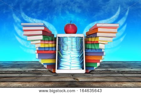 tablet PC, colorful book stacked piles in the shape of wings and an Apple mockup on the sky background - back to school