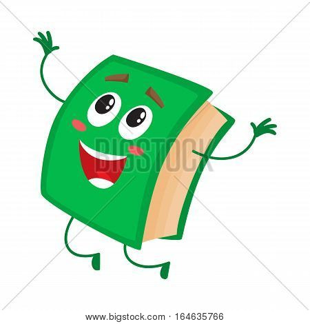 Funny book character jumping happily, celebrating success, cartoon vector illustration isolated on white background. Green book jumping happily with hands up and wide smile, school, education concept