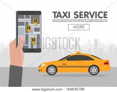 Phone With Interface Taxi On Screen On Background The City. Mobile App For Booking Service. Flat Vec