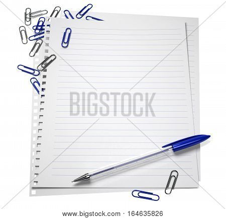 Notepaper with a pen and paper clips, isolated on white, 3d illustration