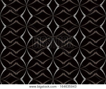 Seamless geometric abstract pattern. Diagonal rhomb shaped, braiding figure texture. Unusual rhombus bands, lines on dark background. Brown, black, gray colors. Vector