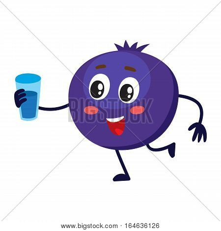 Cute and funny comic style blueberry character holding glass of water, milk, juice, cartoon vector illustration isolated on white background. Ripe blueberry character, mascot with big eyes