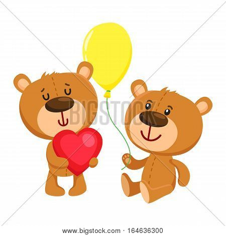 Two cute retro style teddy bear characters, standing in birthday cap and with big red heart, cartoon vector illustration isolated on white background. Teddy bear character, birthday party