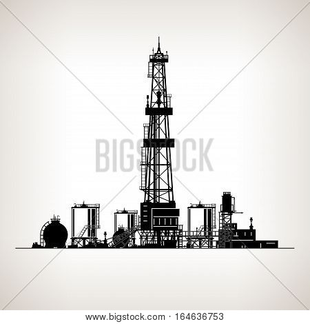 Silhouette Drilling Rig ,Oil Rig, Machine which Creates Holes in the Earth,Oil Well Drilling