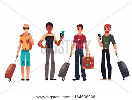 Set of young male travelers with luggage, suitcases, cartoon illustration isolated on white background. Tourists, men with luggage, bags, suitcases arriving or departing at the airport