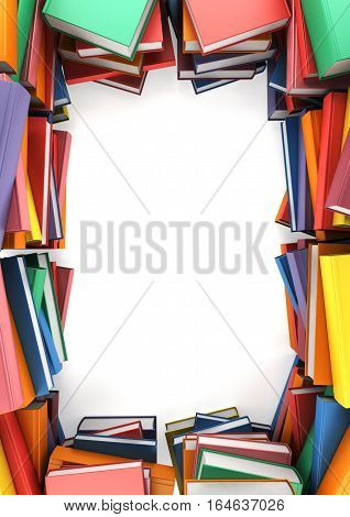 The stacks of book that form a frame on white background, 3d illustration
