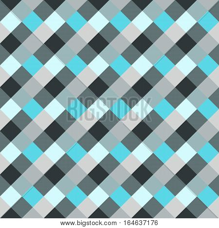 Seamless geometric checked pattern. Diagonal square, braiding, woven line background. Patchwork, rhombus, staggered texture. Blue, gray colors. Winter theme. Vector