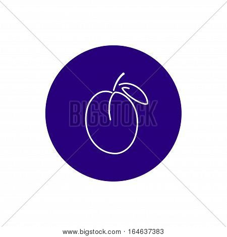 Plum, Colorful Round Icon Plum, Fruit Icon