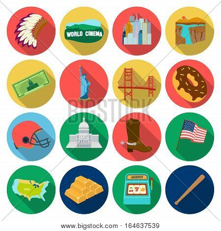 USA country set icons in flat design. Big collection of USA country vector symbol stock illustration