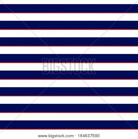 Navy blue white and red lines. Classic marine pattern. Seamless textile print. Vector illustration