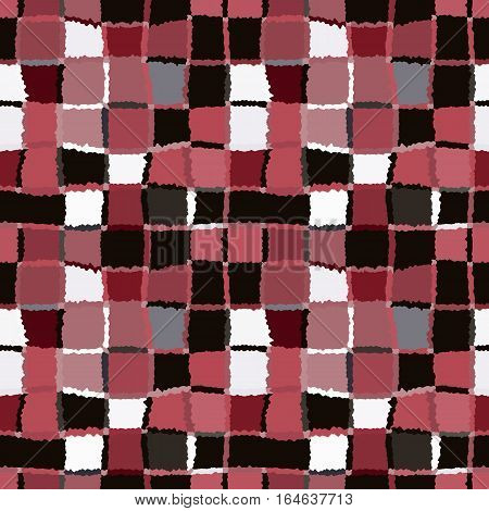 Seamless geometric mosaic checked pattern. Background of woven rectangles and squares. Patchwork, ceramic, tile texture. Vinous, brown, white colors. Vector