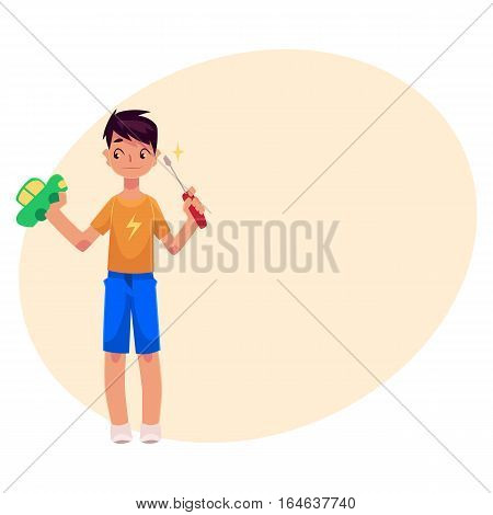 Teenage boy holding screwdriver, trying to fix, repair a toy car, cartoon vector on background with place for text. Full length portrait of boy holding screwdriver and a toy car, repair concept