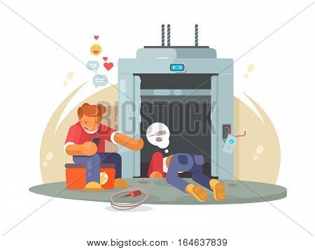Repair elevator. Workers men repairing broken passenger lift. Vector flat illustration