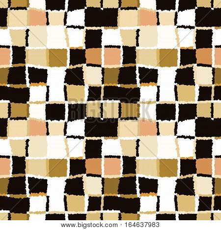 Seamless geometric mosaic checked pattern. Background of woven rectangles and squares. Patchwork, ceramic, tile texture. Gray, vinous, rose colors. Vector
