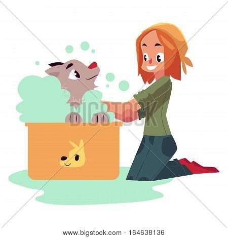 Red haired teenage girl washing, bathing her dog, puppy, cartoon vector illustration on white background. Full length portrait of girl sitting on the floor and washing her puppy in foam bath