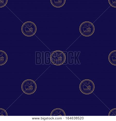 Seamless Pattern with Cargo Ship on a Navy Background