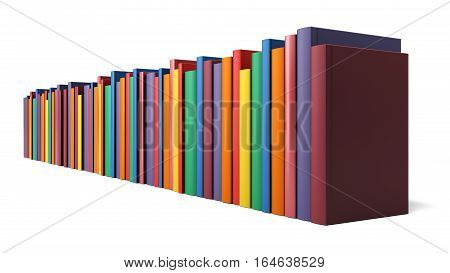 Colored books in line isolated on a white background, 3d illustration