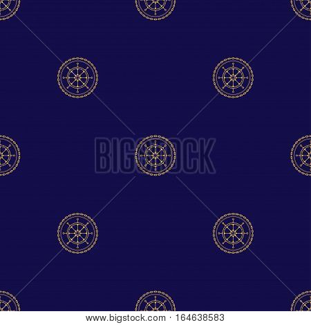 Seamless Pattern with Ship's Wheel on a Navy Background