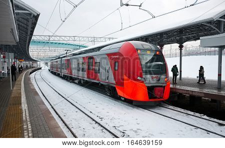 MOSCOW, RUSSIA - DECEMBER 28, 2016: The electric train