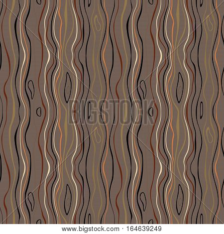 Seamless striped nature pattern. Vertical narrow wavy lines. Bark, branches of trees, tropical forest theme texture. Brown, gray, orange, black colored background. Vector