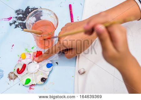 Mixing Water Colors in a painting Class