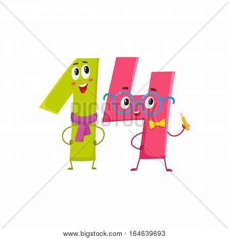 Cute and funny colorful 14 number characters, cartoon vector illustration isolated on white background. fourteen smiling characters, birthday greetings, anniversary