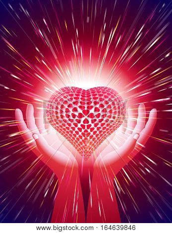 Heart in open hands with a radiant glow; Symbol of amour illuminate around the power of love; Background for a greeting card on the Valentine's Day holiday wedding and the concept of romantic feelings and attitudes; Letter format proportion; Vector Eps10;