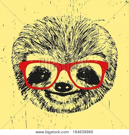 Portrait of Sloth with glasses. Hand-drawn illustration. Vector.