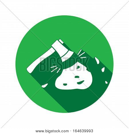 Tool icon. Axe, hache instrument. Working, unskilled, toil, waste, unable, useless method symbol. White sign on round button with long shadow. Vector
