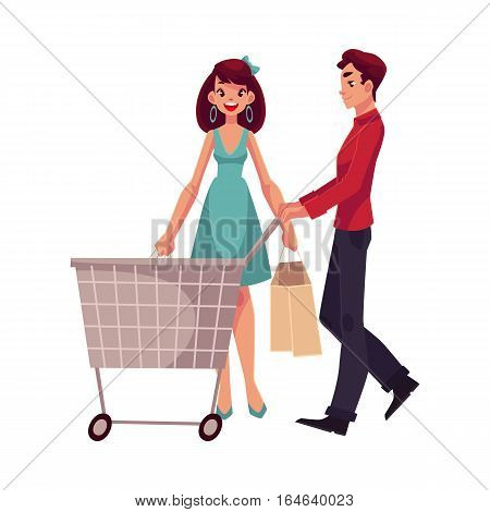 Man pushing a cart and woman holding shopping bags, cartoon vector illustration isolated on white background. Full length portrait of young man and woman doing shopping, consumerism concept