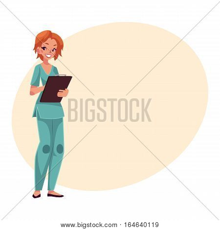 Nurse in blue uniform, tunic and trousers, standing and writing on clipboard, cartoon vector illustration on background with place for text. Female nurse, hospital worker in blue uniform