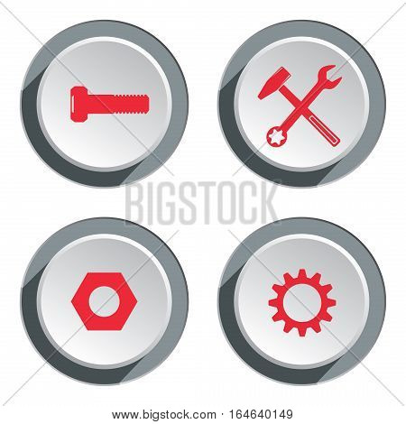Tool icon set. Screwdriver, cogwheel, pliers, wrench key, bolt nut. Repair, fix symbol. Red silhouette on round white three dimensional button. Vector isolated