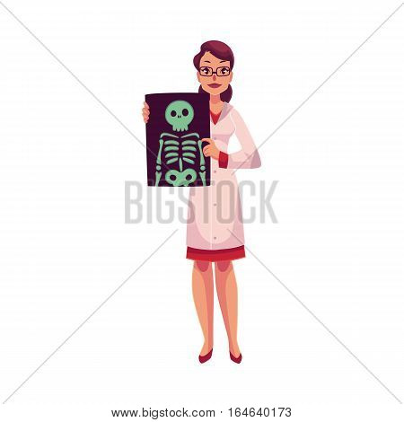 Female radiologist showing an x-ray image of skeleton, cartoon vector illustration isolated on white background. Woman radiologist, roentgenologist doctor with an x-ray of skeleton