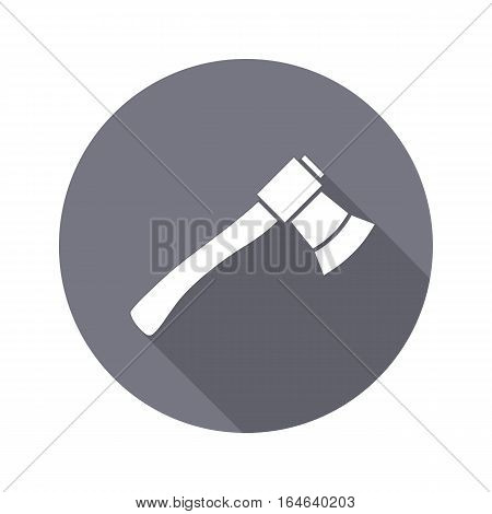 Tool icon. Axe, hache instrument. Work, job, labour, toil, repair, fix, building symbol. White sign on round gray button with long shadow. Vector isolated