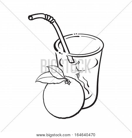 Glass of freshly squeezed juice with a whole orange, sketch vector illustration isolated on white background. Hand drawing of whole orange and juice, design element for packaging and promo materials