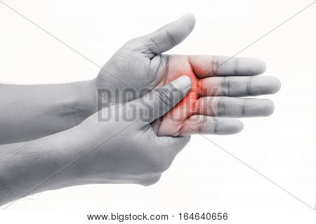 Man has pain in hand isolate on white background