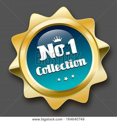 No.1 collection seal or icon with crown symbol. Glossy golden seal or button with stars and turquoise color.