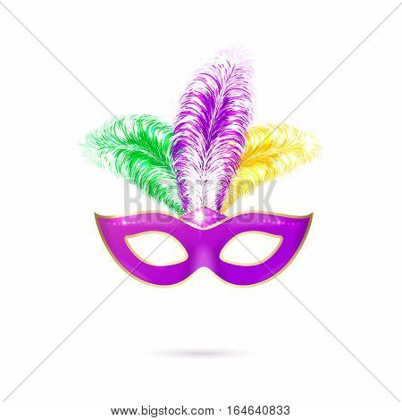 Vector illustration of violet luxury ornate Venetian carnival mask with colorful yellow, green, purple feathers for Mardi Gras holiday