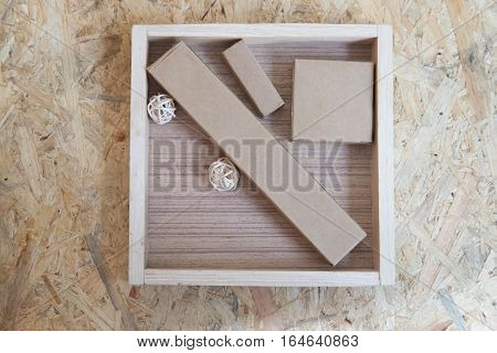 Spa kit amenities hotel in tray box on wood background