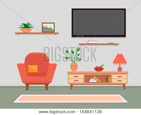 cozy living room interior with armchair, tv and furniture
