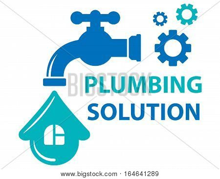 blue plumbing solution concept symbol with tap and house on drop