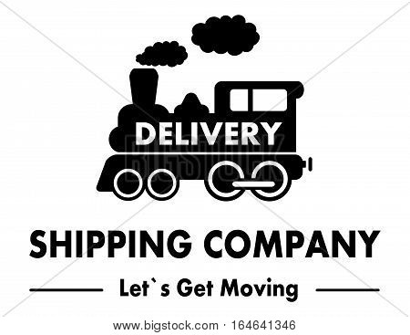 shipping company symbol with moving train silhouette
