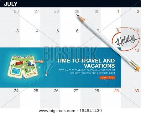 Top view of the island in the form of a shorts. Creative concept travel and vacations banner. Holiday trip. Travel and tourism. calendar list with creative travel banner.