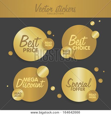 Gold Stickers Set Vector Illustration. Concept For Web Sites Banners And Labels