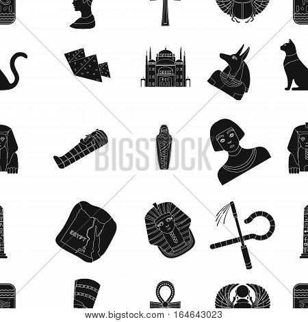 Ancient Egypt pattern icons in black design. Big collection of ancient Egypt vector symbol stock illustration