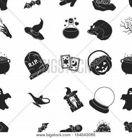 Black and white magic pattern icons in black style. Big collection of and white magic vector symbol stock