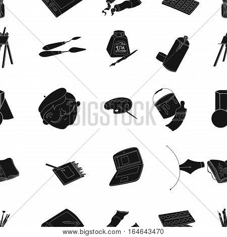 Artist and drawing pattern icons in black design. Big collection of artist and drawing vector symbol stock illustration