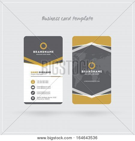 Golden And Gray Vertical Business Card Print Template. Double-sided Personal Visiting Card With Comp